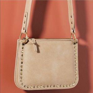 ANTHROPOLOGIE Studded Crossbody Bag Beige/Goldtone